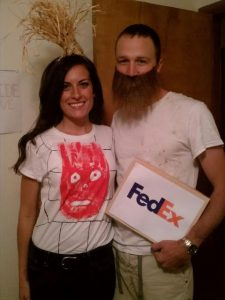 """Chuck and Wilson the volleyball from """"Castaway"""" Halloween Costume #halloween #halloweencostume #halloweencouplecostume #couplecostume #diycostume #diyhalloween #diyhalloweencostume #KAinspired www.kainspired.com"""