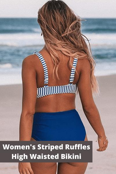 Women's striped ruffles high waisted bikini | Summer Fashion
