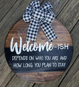 DIY FRONT DOOR ROUND WELCOME SIGN